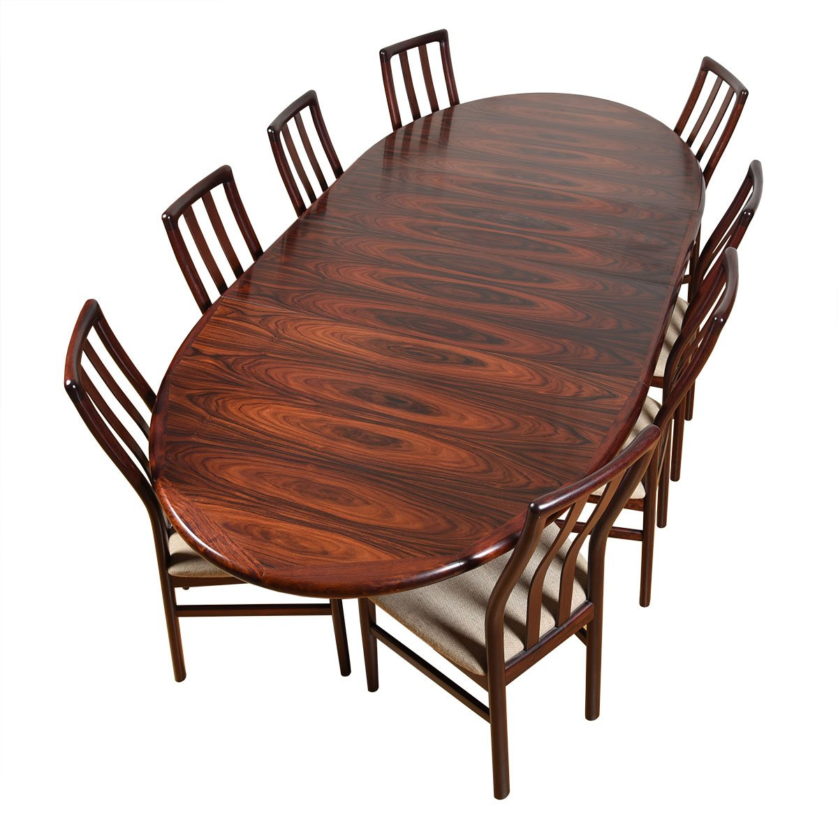 Danish Modern Rosewood Oval Expanding Pedestal Dining Table.