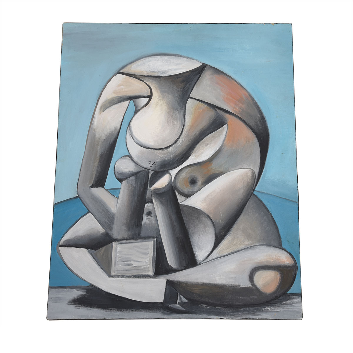Vintage Cubist Style Painting with Thoughtful Figure