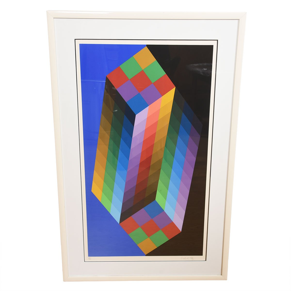 Victor Vasarely Colorful Cubist Op Art
