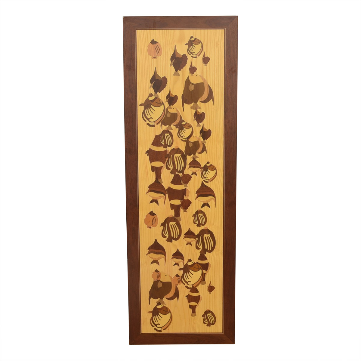 "Vintage Wooden Marquetry ""Painting"" of a School of Fish"