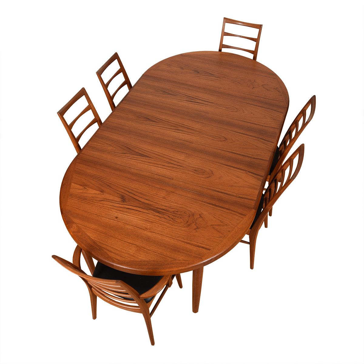 Danish Modern Teak Expanding Round-to-Oval Dining Table.