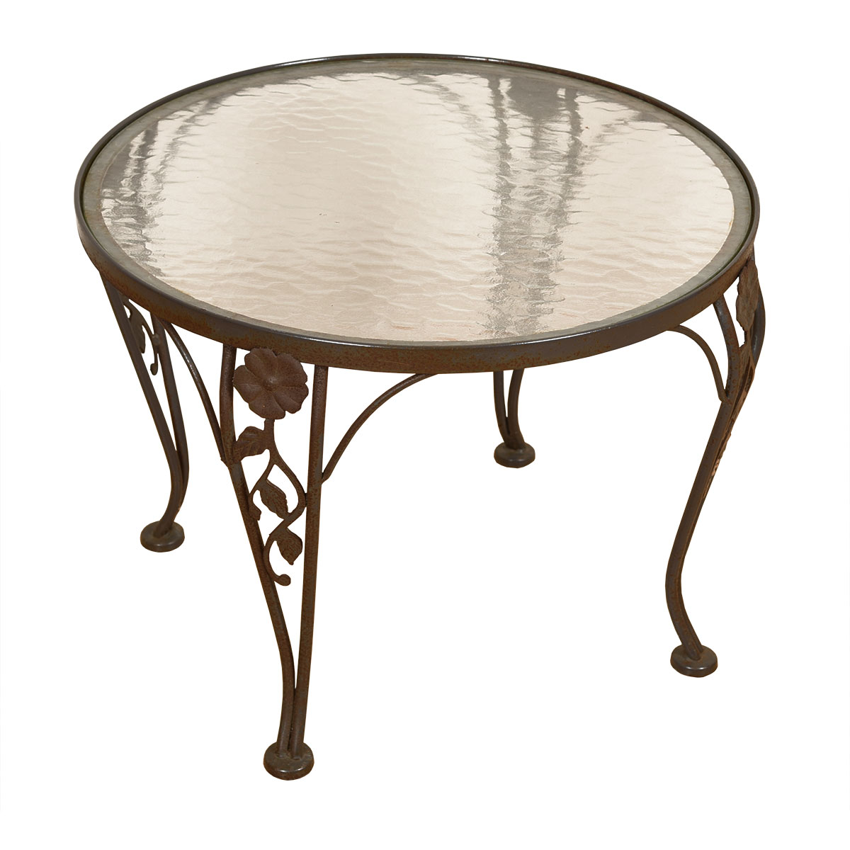 Vintage Woodard Wrought Iron & Glass Top Accent Table