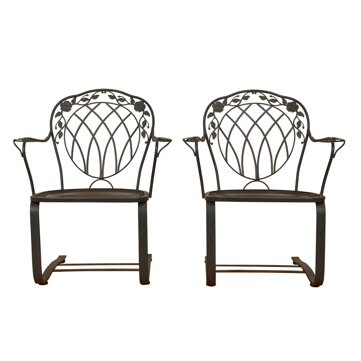 Pair of Vintage Woodard Wrought Iron Bounce Patio Rockers