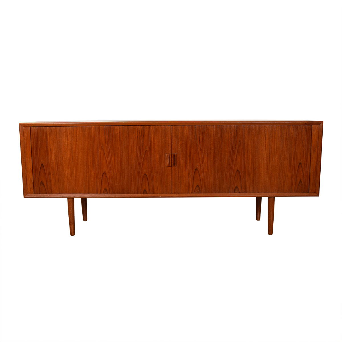 Danish Teak 80″ Tambour Door Sideboard / Room Divider