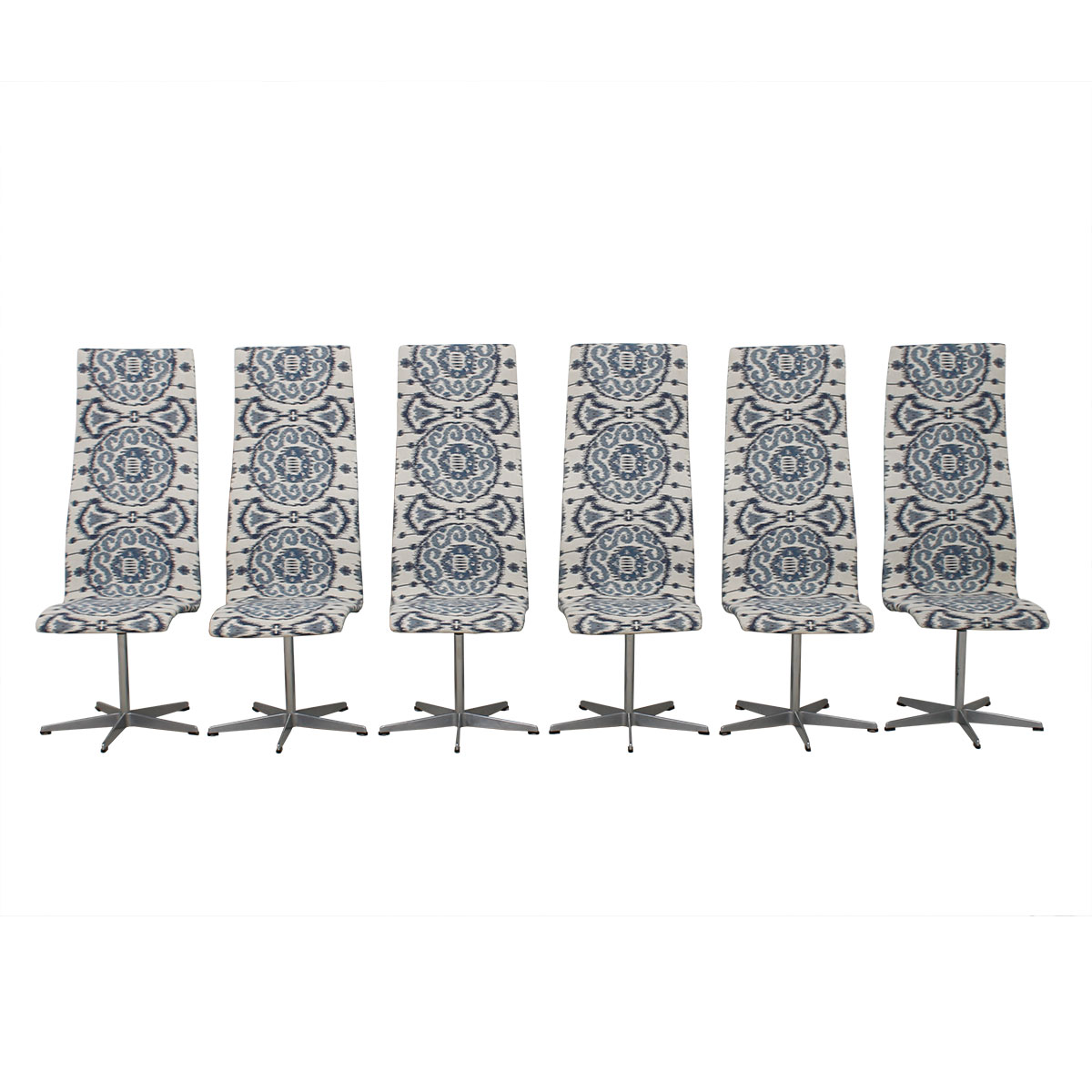 1970's Vintage Set of 6 Fritz Hansen Oxford Chairs w/ New Blue & White Ikat Upholstery