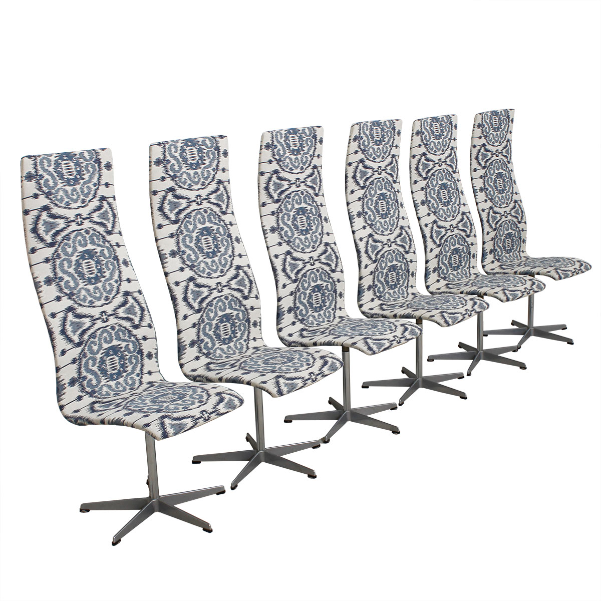 Set of 6 Fritz Hansen Oxford Chairs with New Blue & White Ikat Upholstery