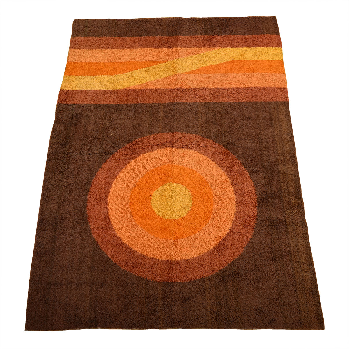Vintage Mid Century Brown Sunrise + Horizon Rug