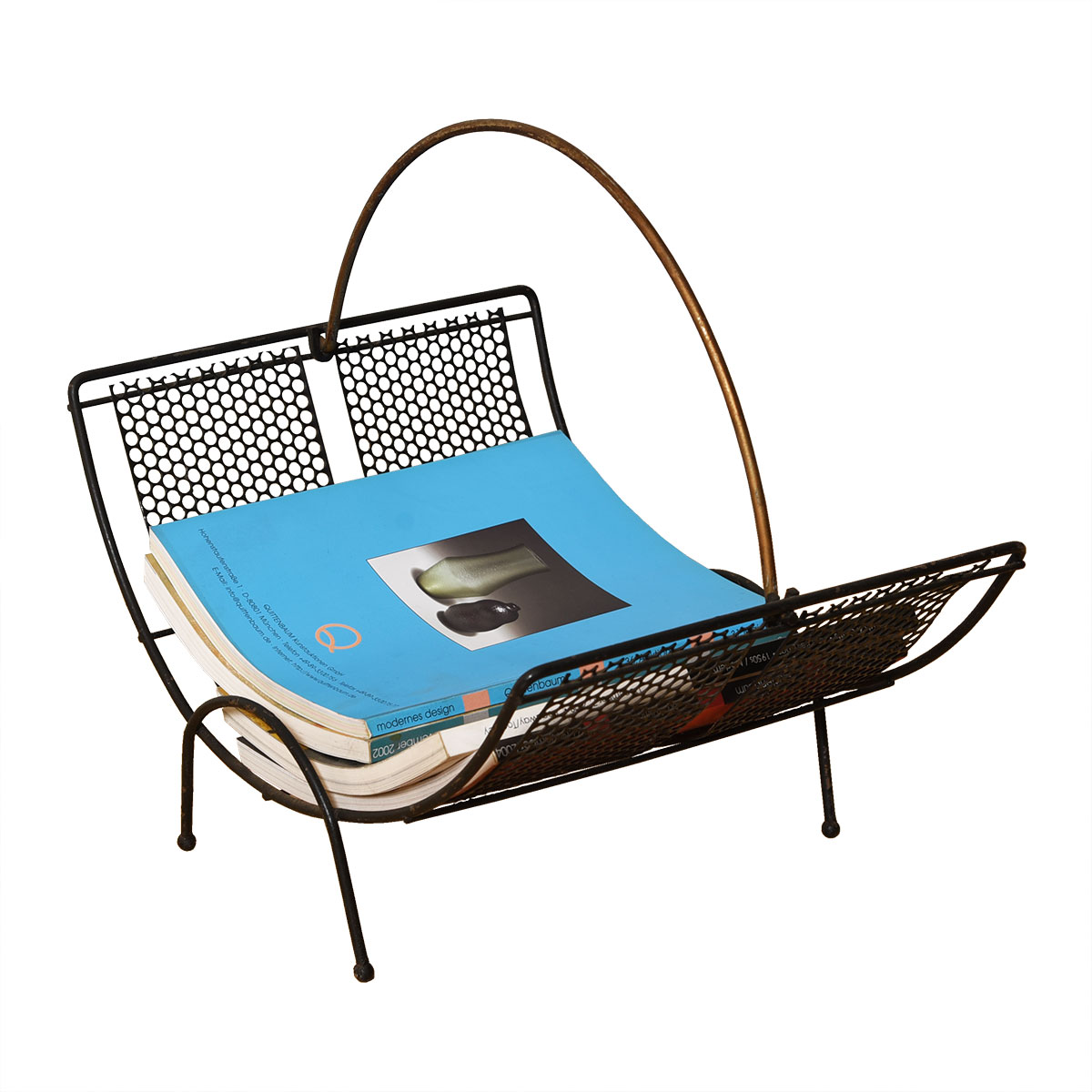 Iron & Brass Basket-shaped Magazine / Log Holder