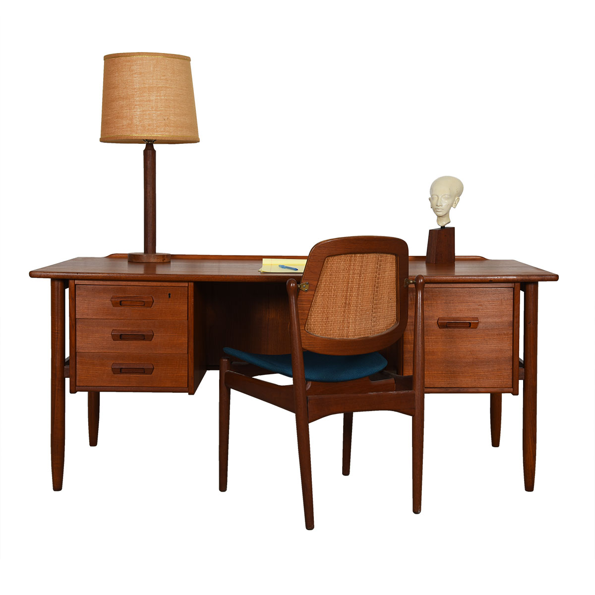 Danish Modern Teak Executive Desk w/ Sculpted Accents