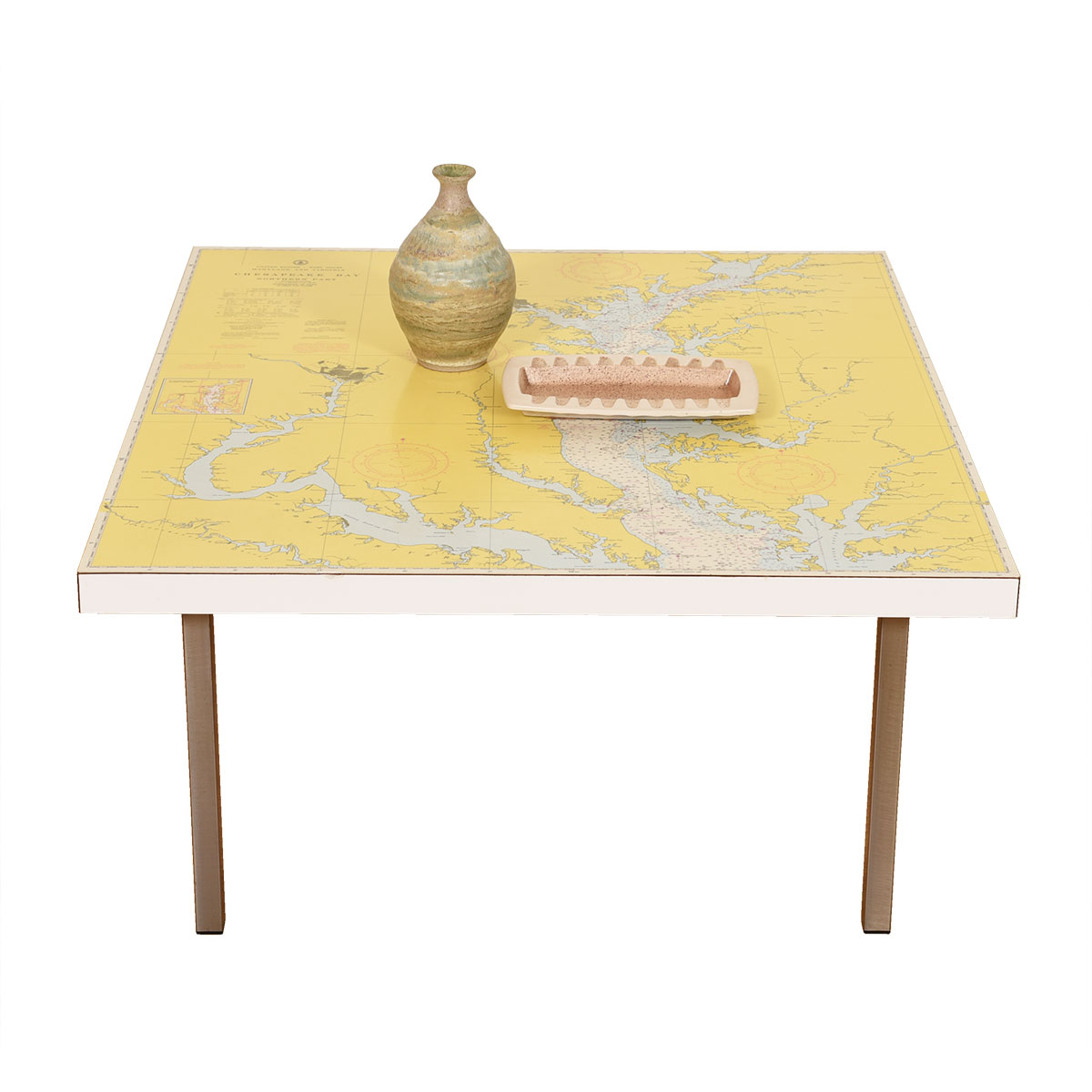 Vintage 'Map' Top Square Coffee Table Featuring the Chesapeake Bay