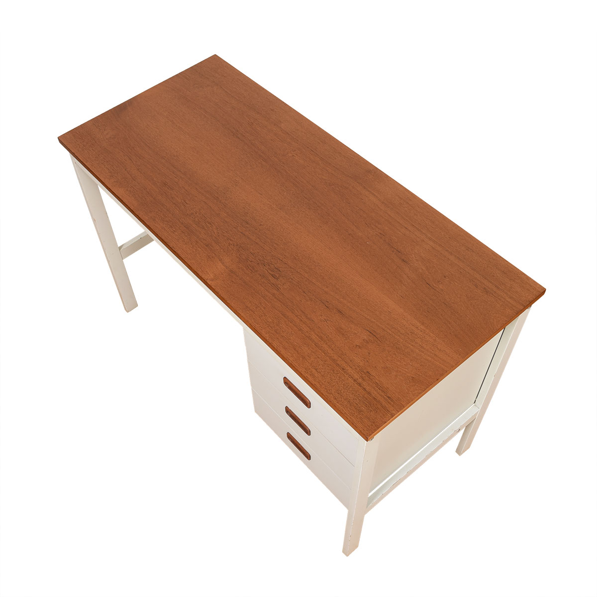 Apartment Sized 1970's Danish Modern Teak & White Desk.