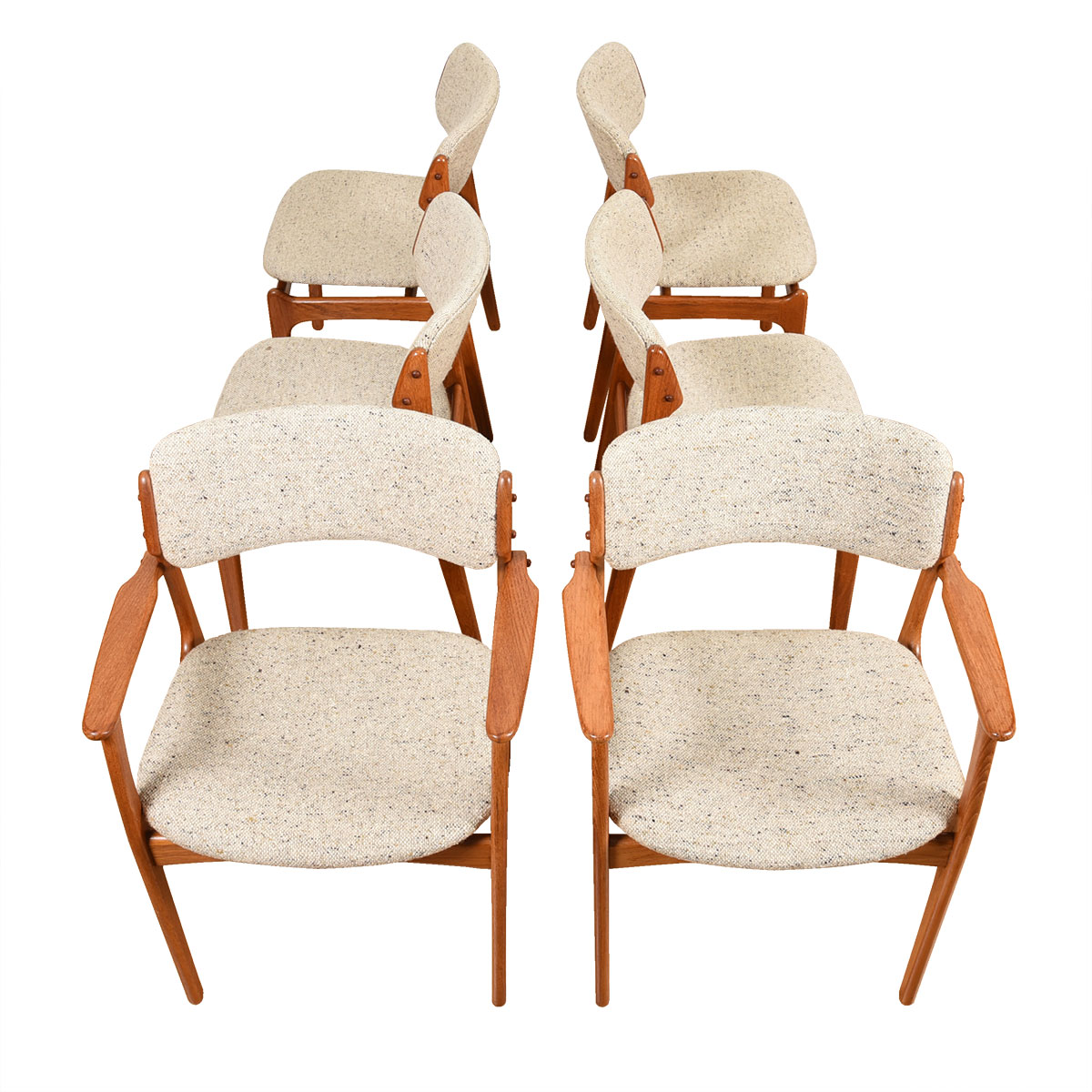 Set of 6 (2 Arm + 4 Side) Teak Dining Chairs by Erik Buch