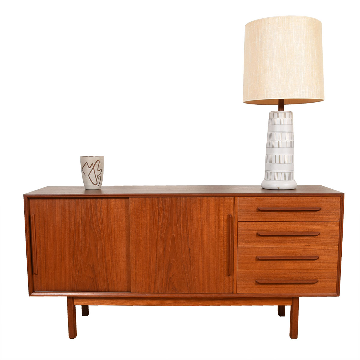 60″ Danish Modern Teak 2-Door / 4-Drawer Sideboard