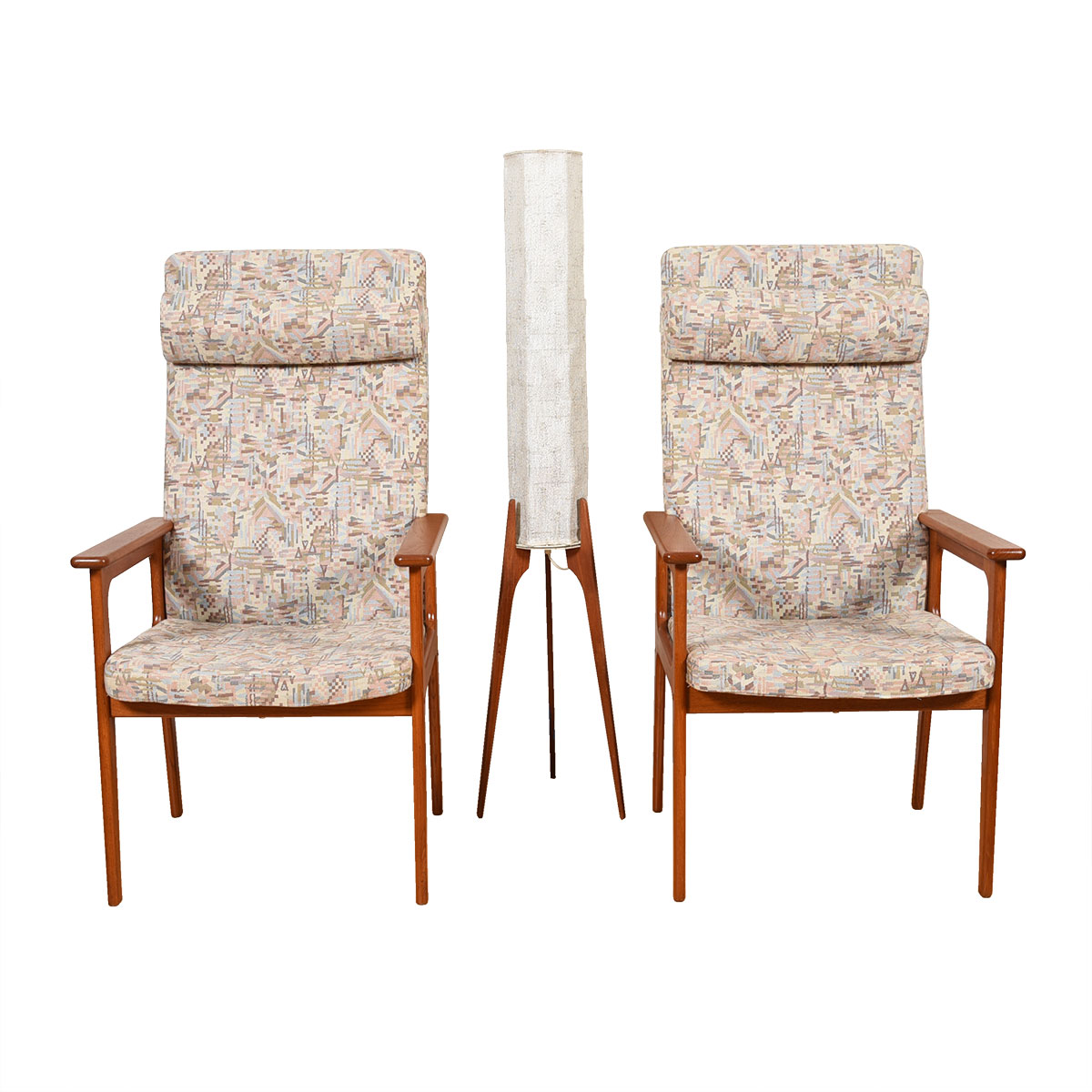 Pair of O.D. Mobler Danish Modern Tallback Easy Chairs