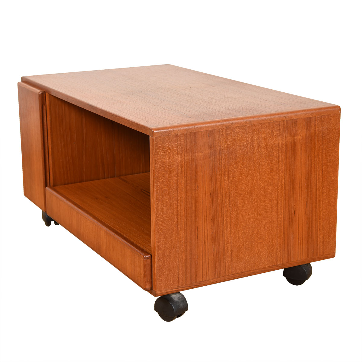 Danish Teak Rolling TV Stand / Low Media Cabinet.