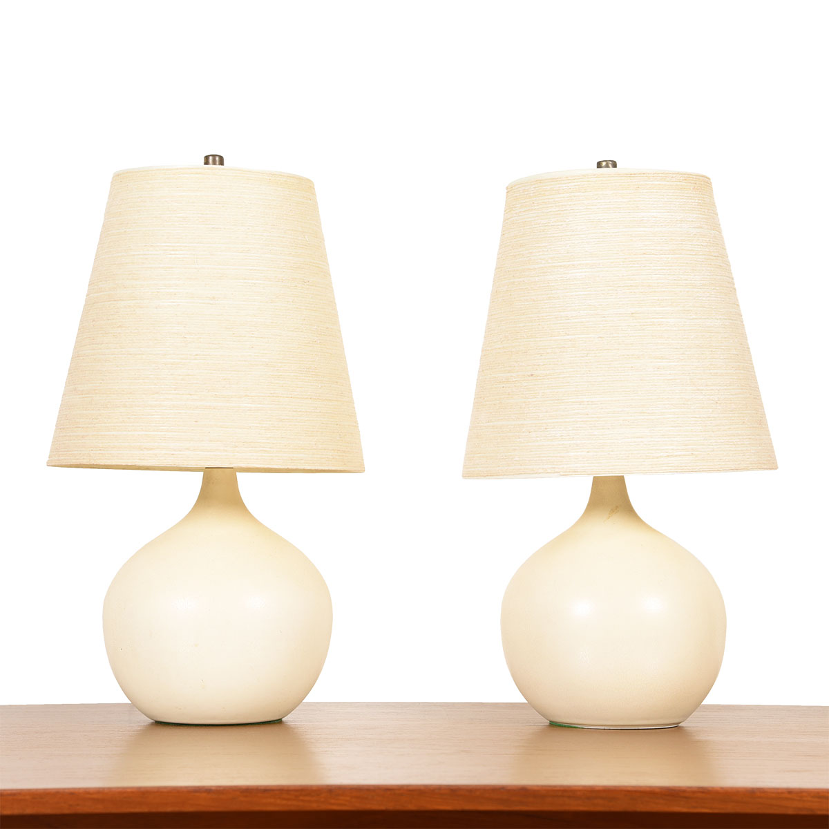 Pair of Small Round Bostlund Lamps w/ Original Fiberglass Shades