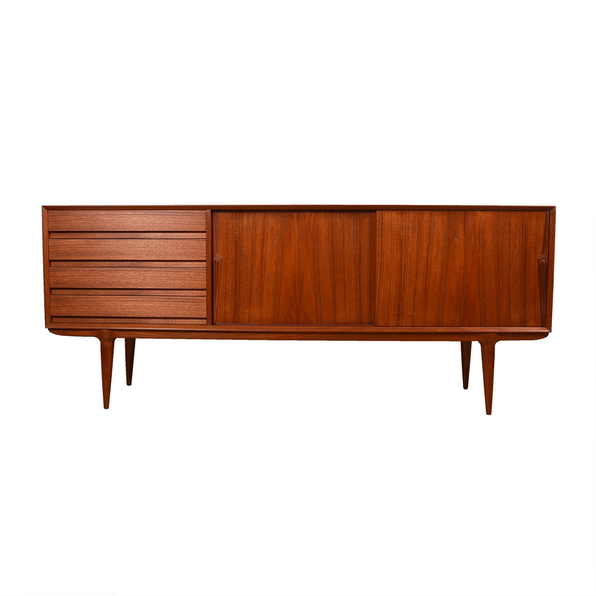 Sleek Danish Modern Teak Credenza / Room Divider