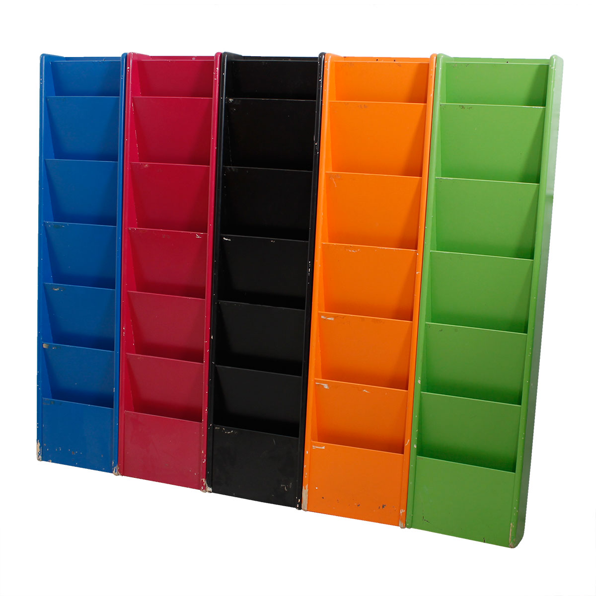 Set of 5 Multicolored Tall Hanging Bookcases / File Organizers
