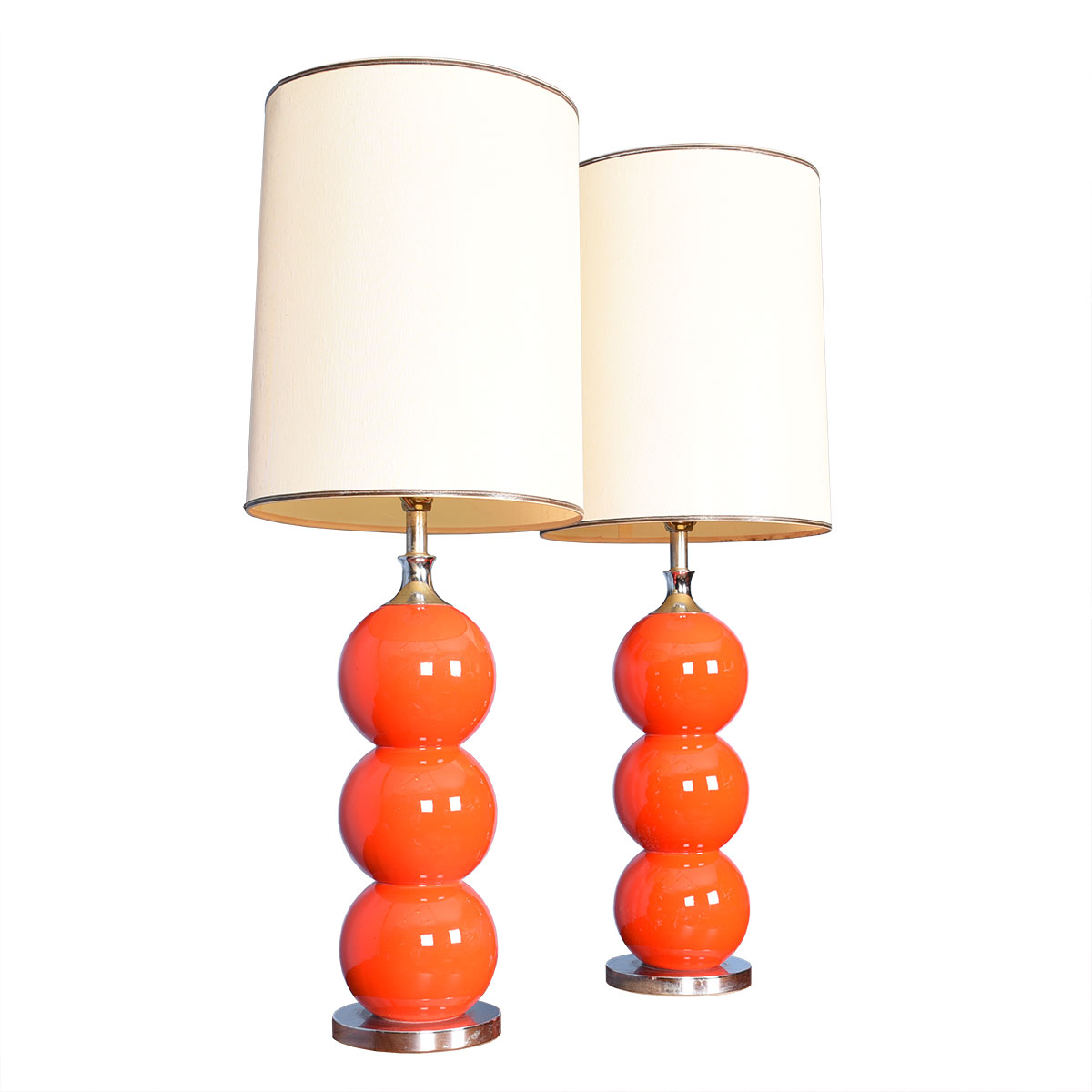 Pair of Red-Orange Stacked-Ball Table Lamps