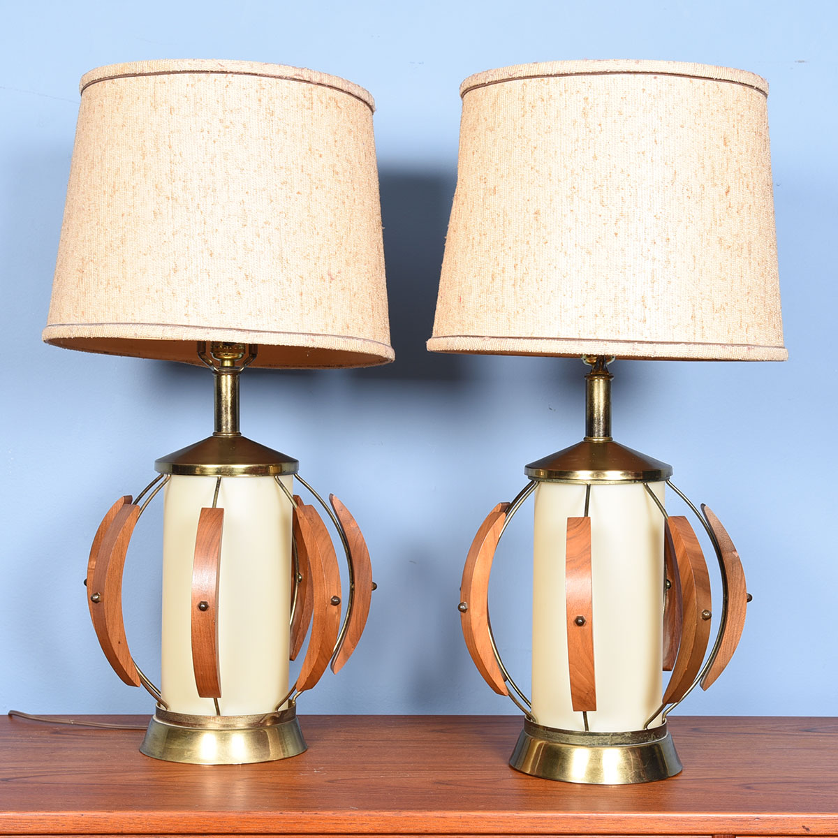 Pair of Mid-Century Walnut & Brass Table Lamps