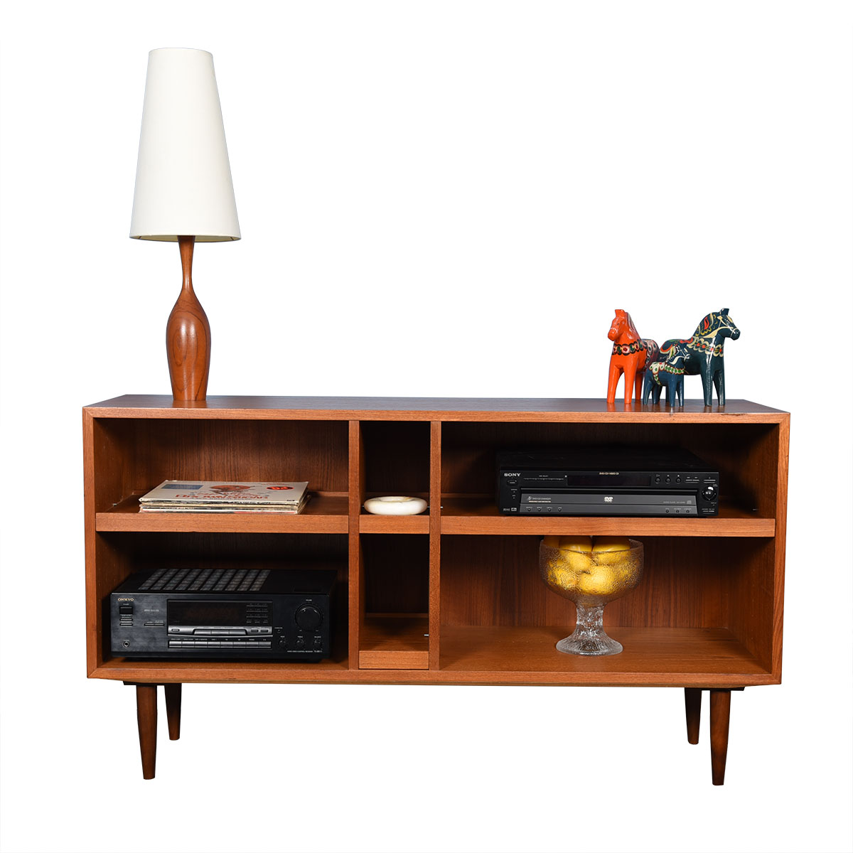 Deep Open Teak Bookcase / Media Cabinet w/ Pull-Out Shelves!