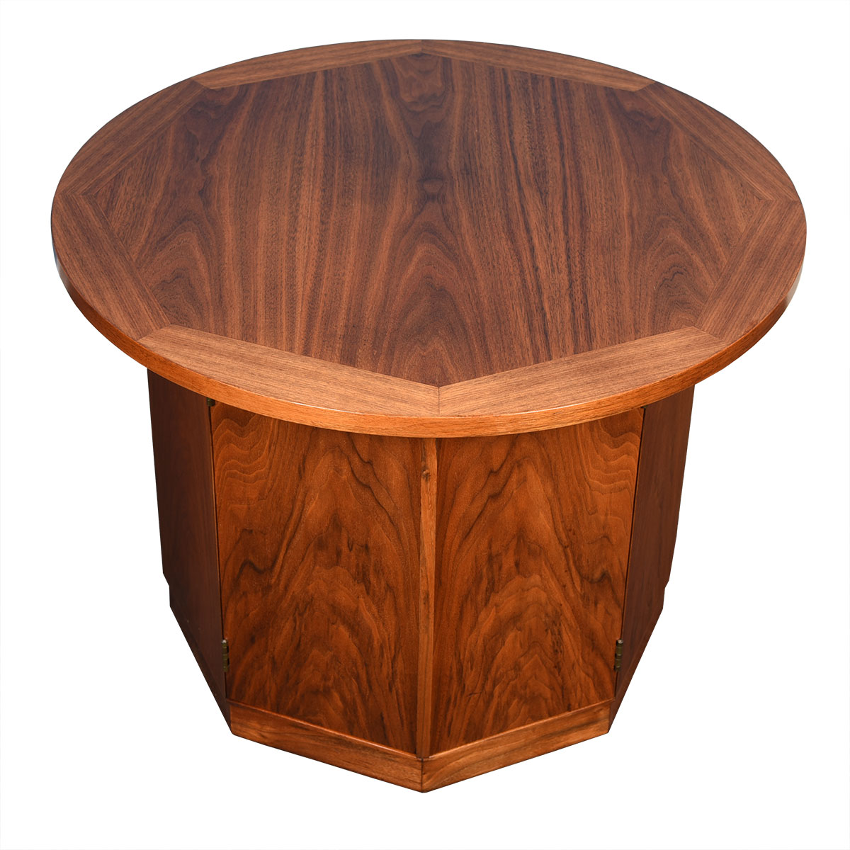 Mid-Century Walnut Round Accent Table / Storage Cabinet