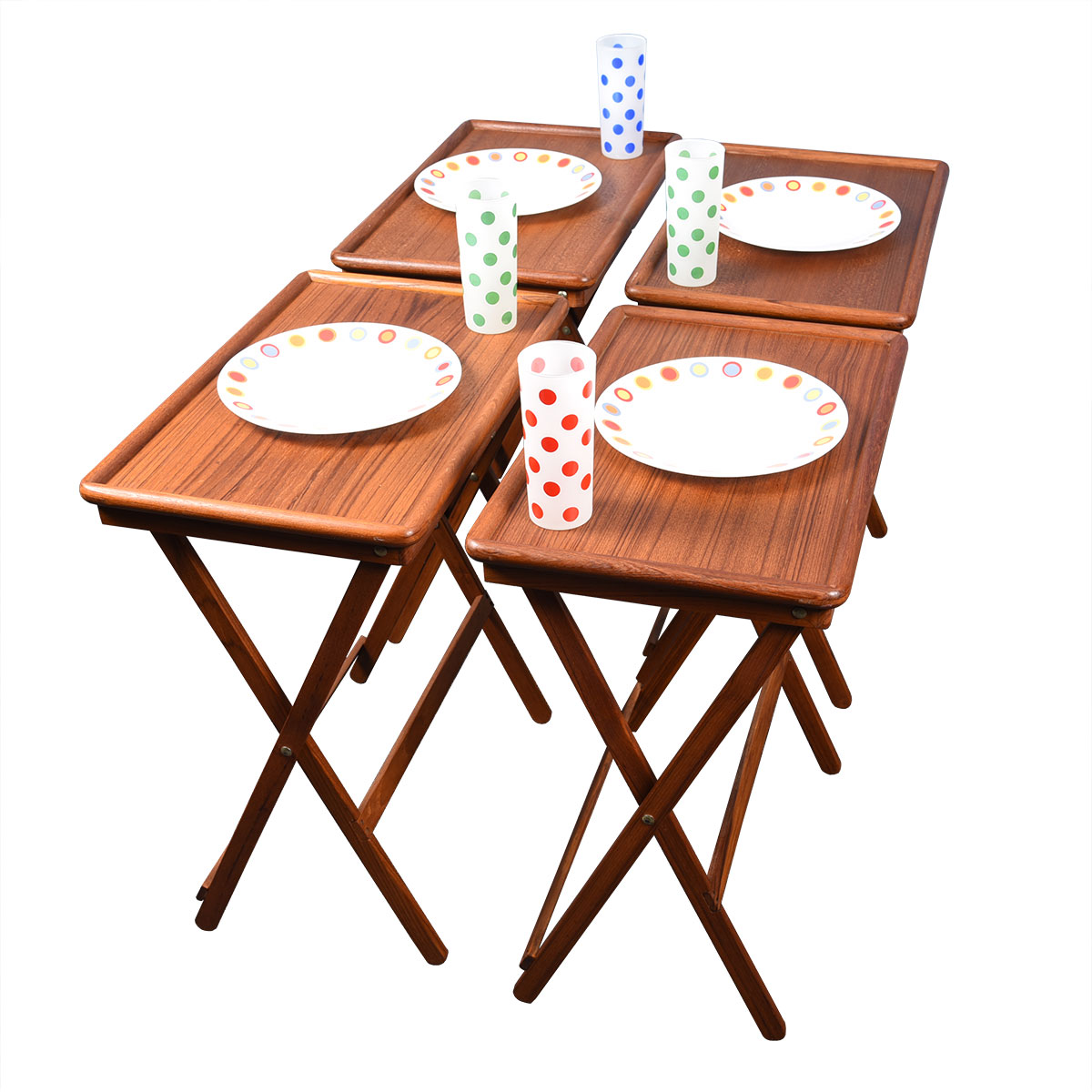 Danish Teak Set of 4 Collapsable TV Dinner / Snack Trays