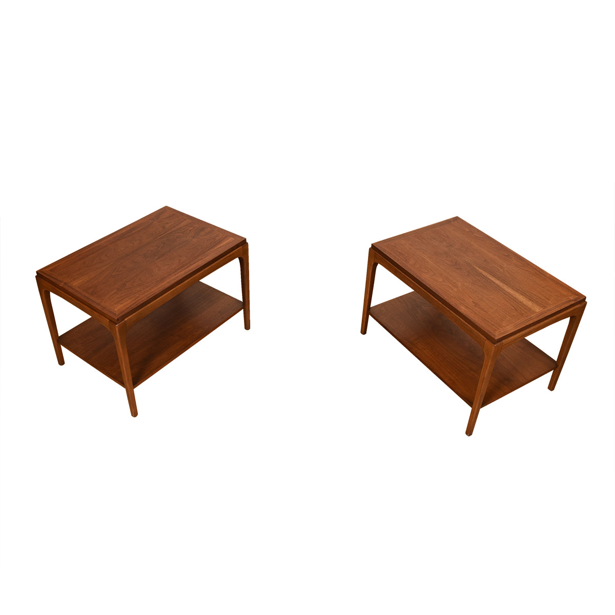 Mid Century Modern Walnut Pair of Side Tables w/ Shelves!