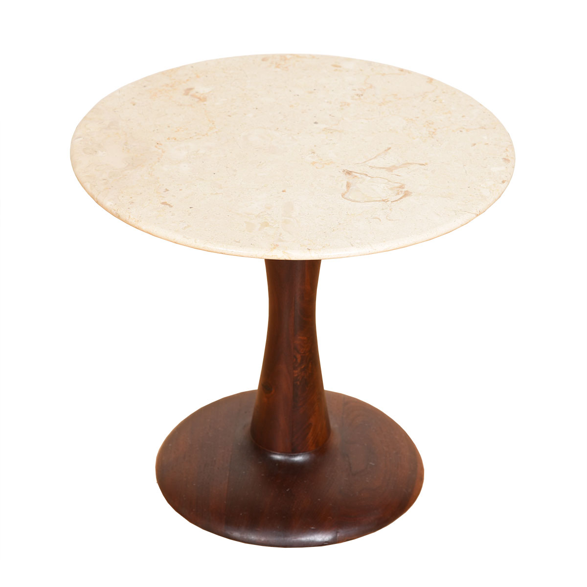 Swedish Round Travertine / Marble Tulip Accent Table w/ Walnut Base