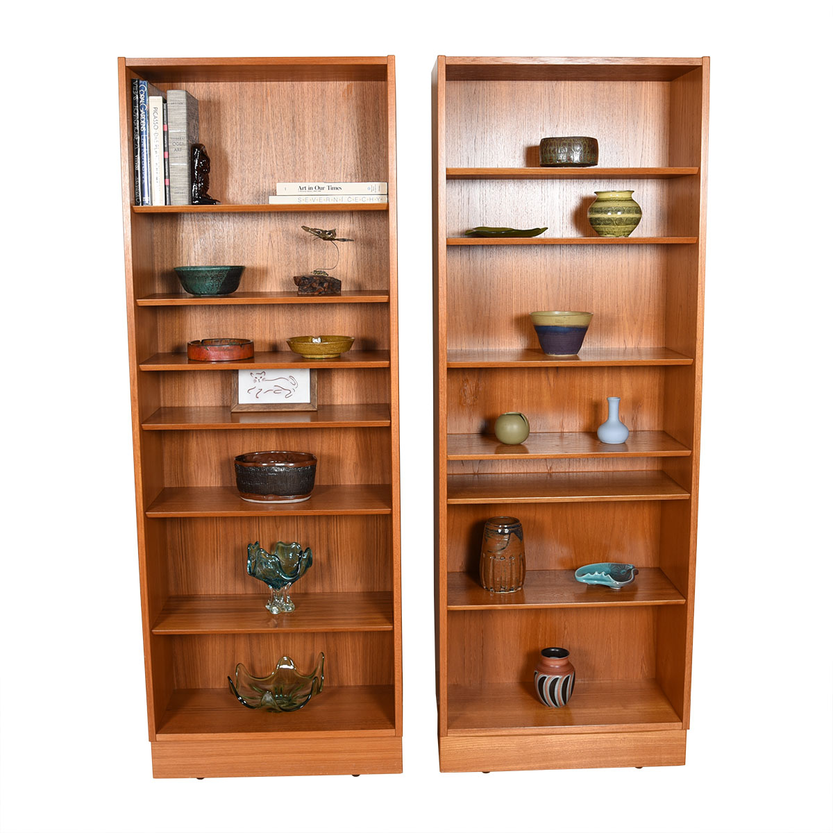 Pair of Teak 28″ Compact Adjustable Shelf Bookcases