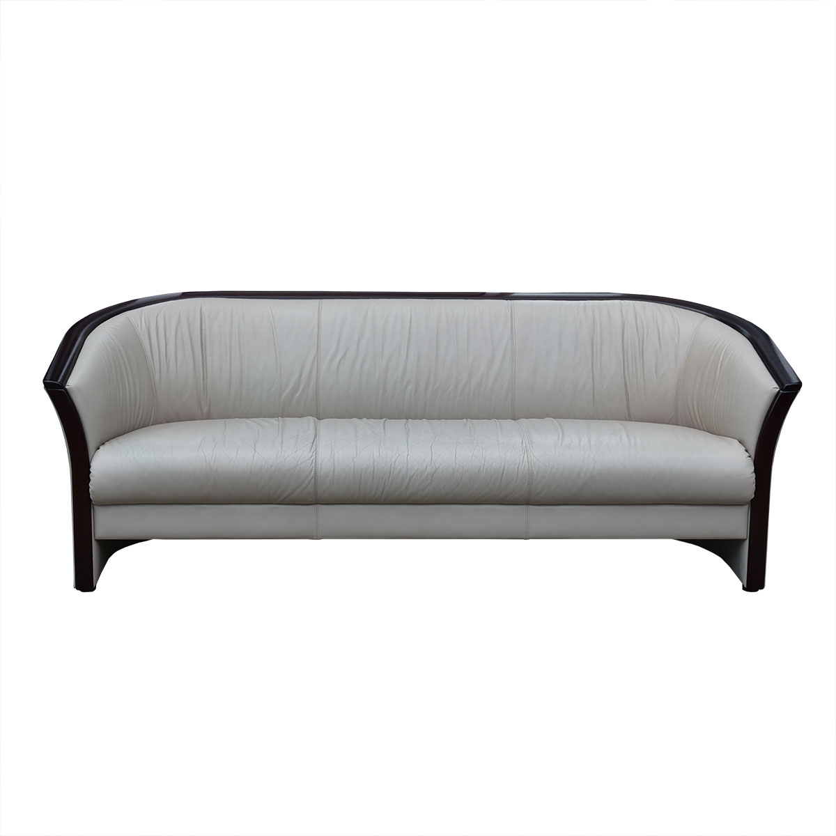 Ekornes Rosewood Accented 3-Seat Vintage Leather Sofa