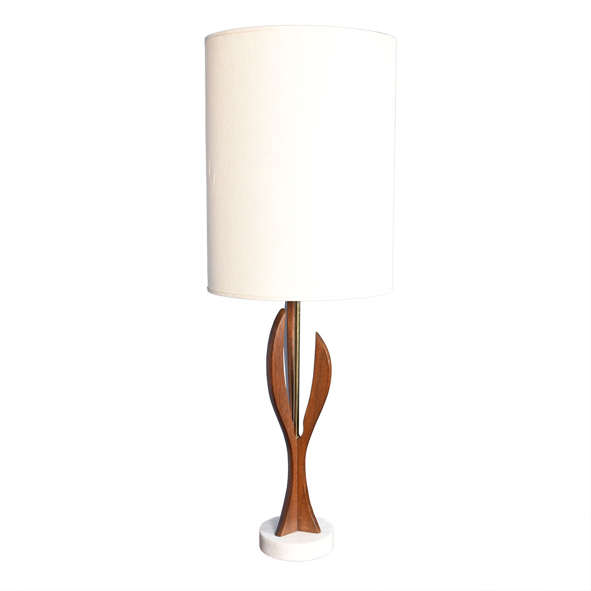Danish Modern Walnut Sculptural Table Lamp w/ Marble Base