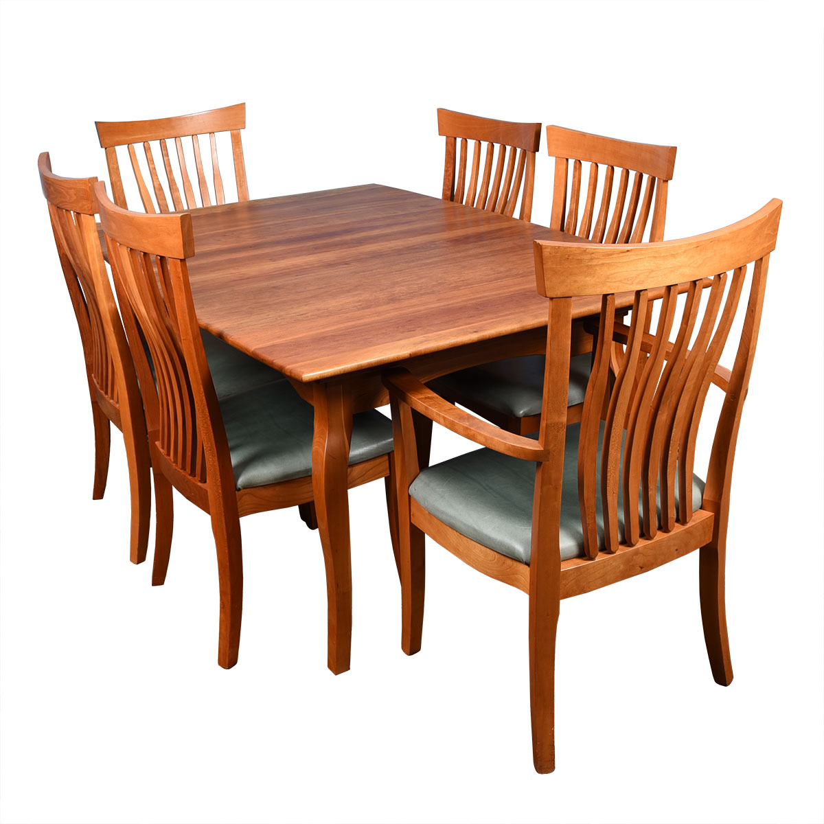 Table & Chair Set — Solid Cherry Set of 6 Leather (2 Arm + 4 Side) Chairs + Expanding Dining Table