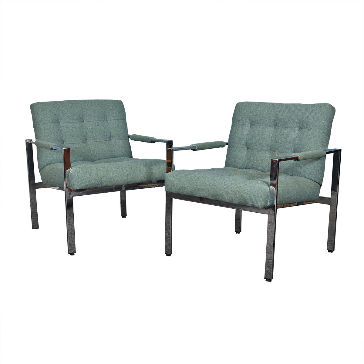 Pair of Milo Baughman for Thayer Coggin Chrome Flat Bar Lounge Chairs