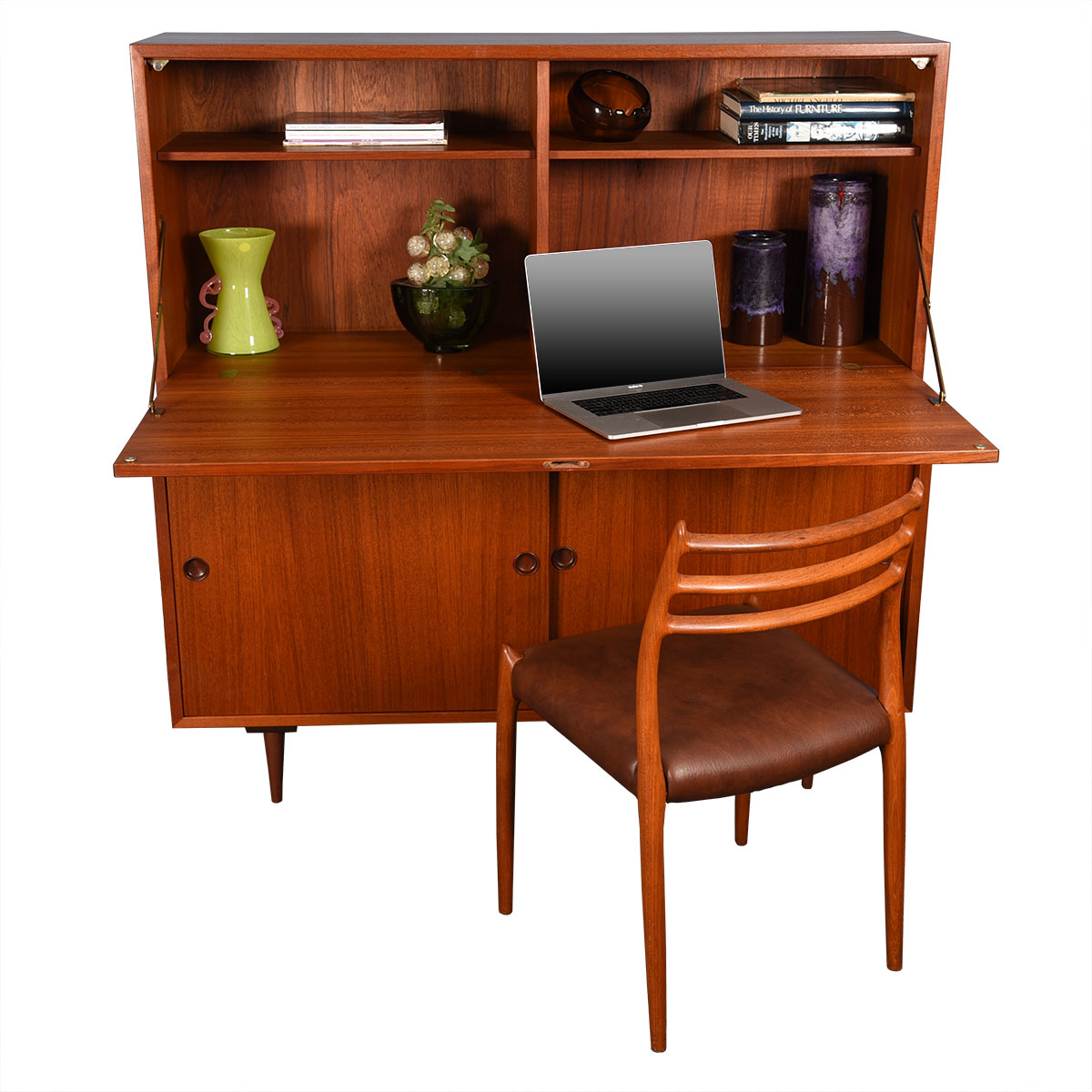 Danish 2-Piece Teak Secretary & Storage Cabinet.