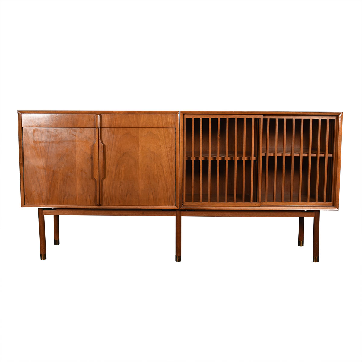 Walnut 4 Door Slatted Sideboard / Lighted Vanity Bar Cabinet