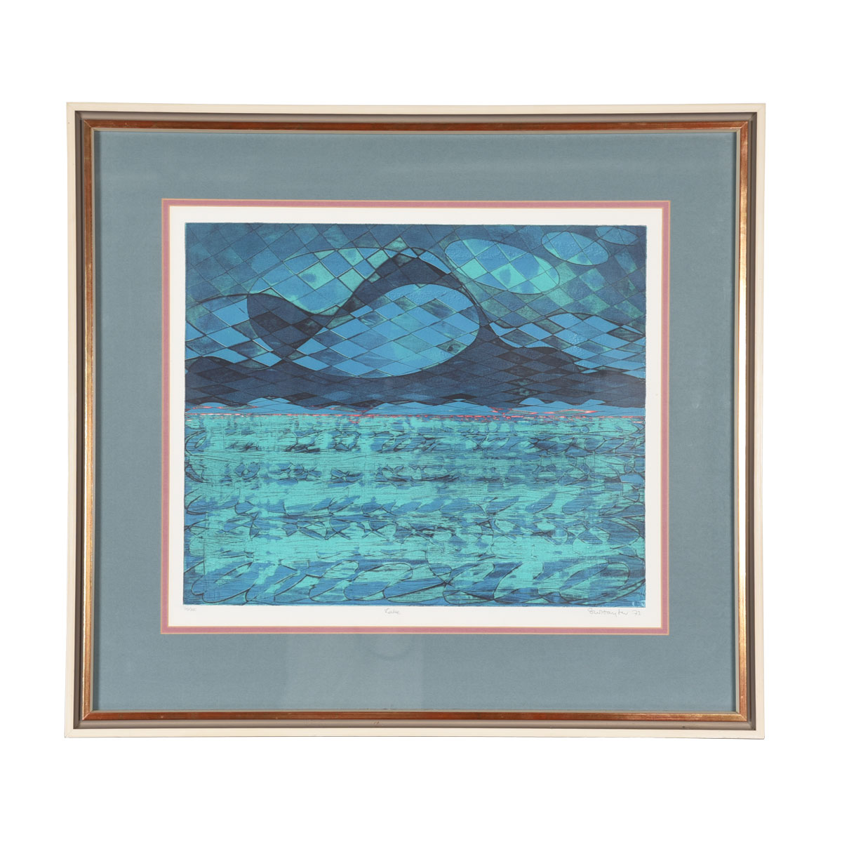 """Soft-Ground Etching in Color by Stanley William Hater 1973 """"LAKE"""" ed. III / XX"""