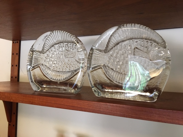 Pair of Blenko Glass Bookends with Fish Design