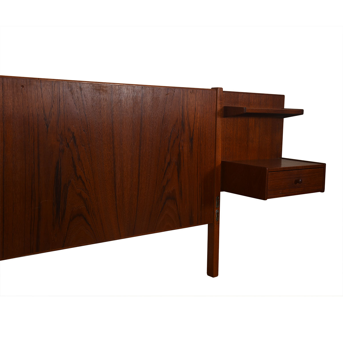 Danish Queen-Sized Teak Headboard w/ Attached Nightstands & Black Footboard