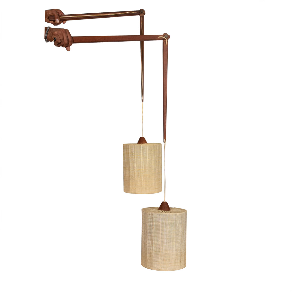 Pair of Danish Teak Adjustable Hanging Sconces