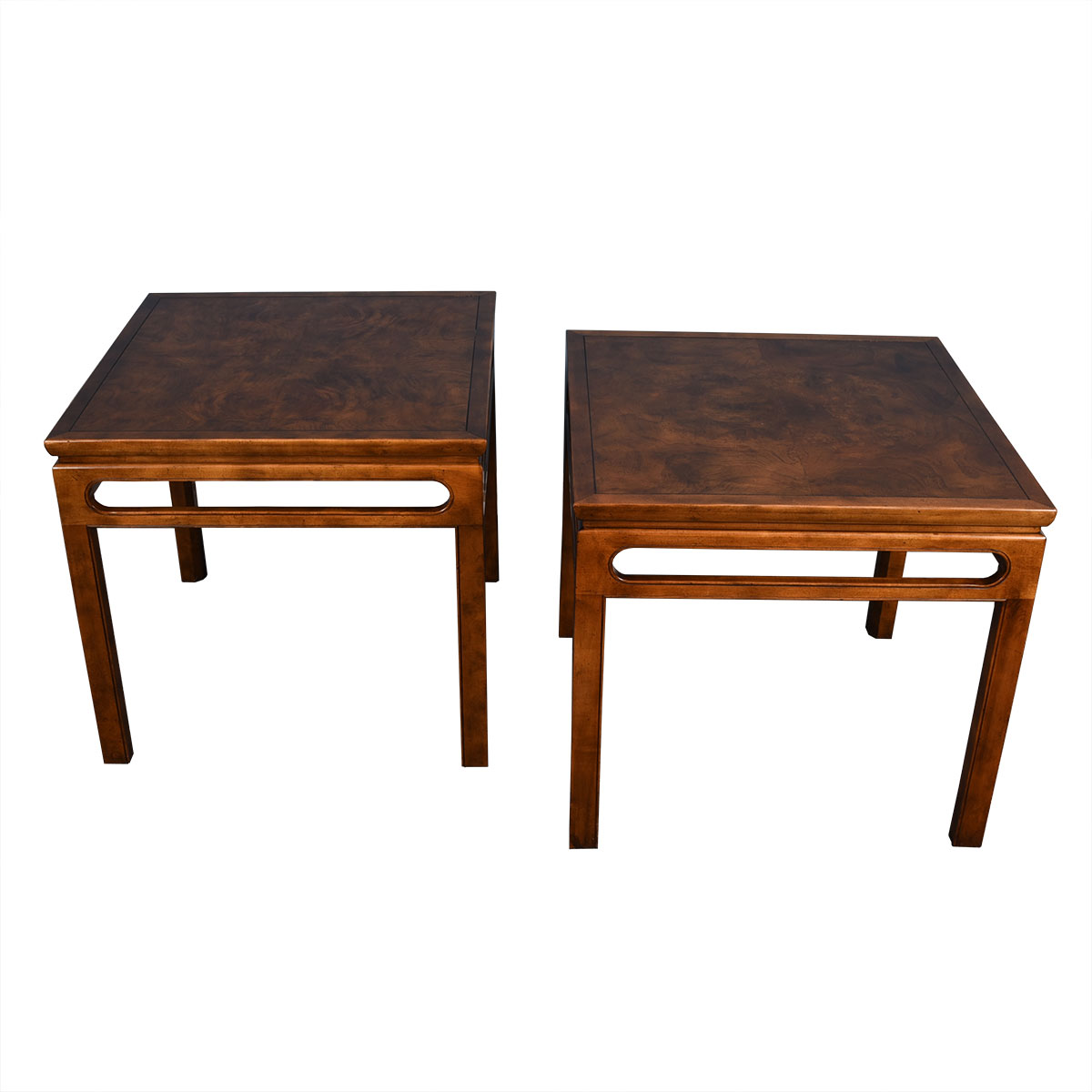 Pair of Baker Burled Wood Mid Century Side / Occasional Tables