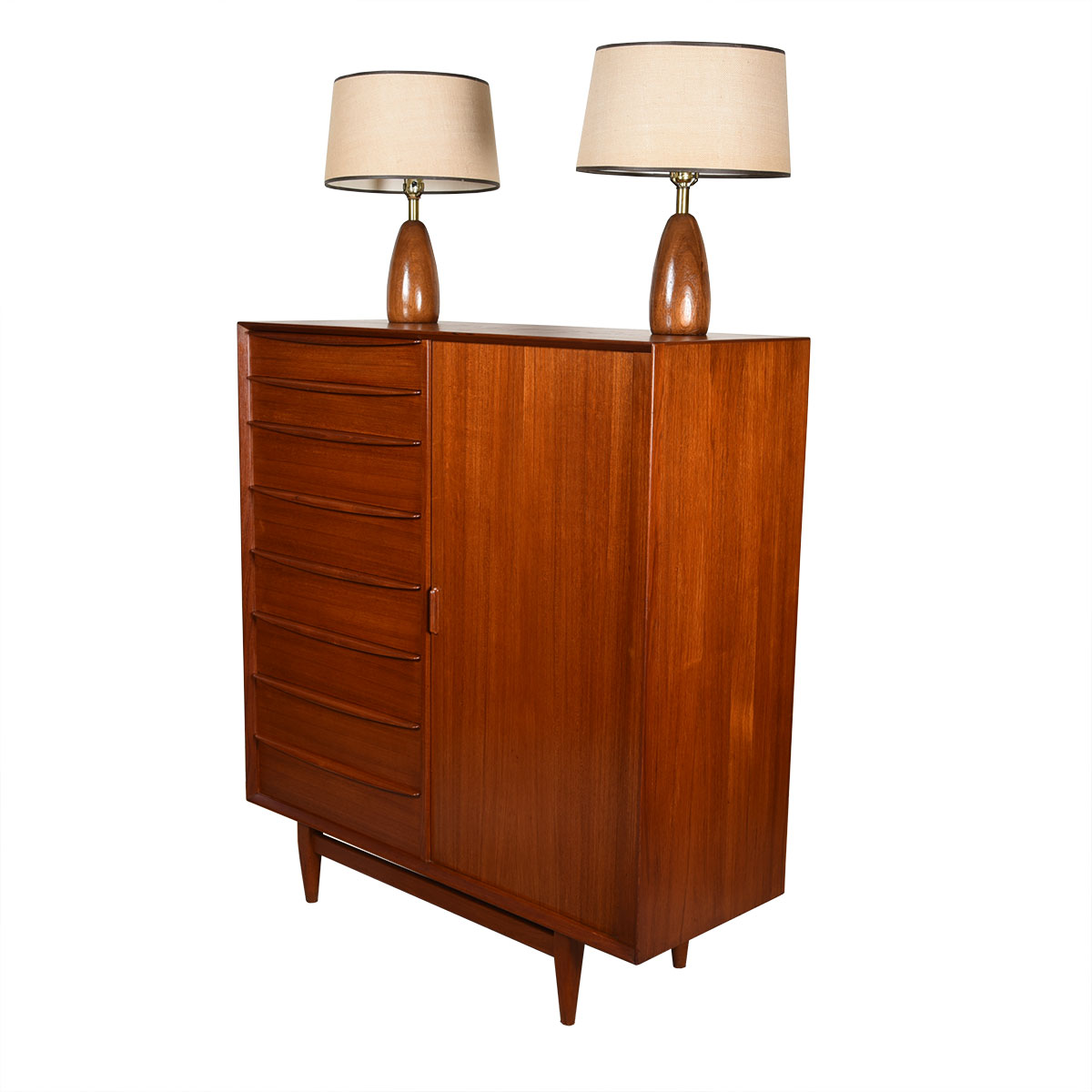 Svend Madsen Danish Teak Tambour Door Tall Dresser / Gentleman's Chest