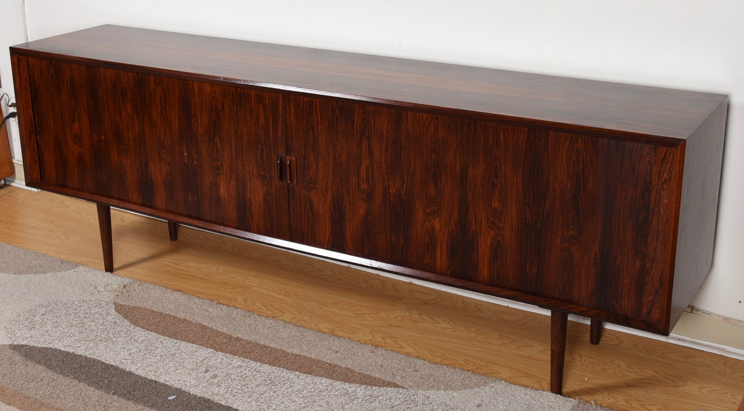 Super-Long Danish Modern Rosewood 90″ Tambour Door Sideboard