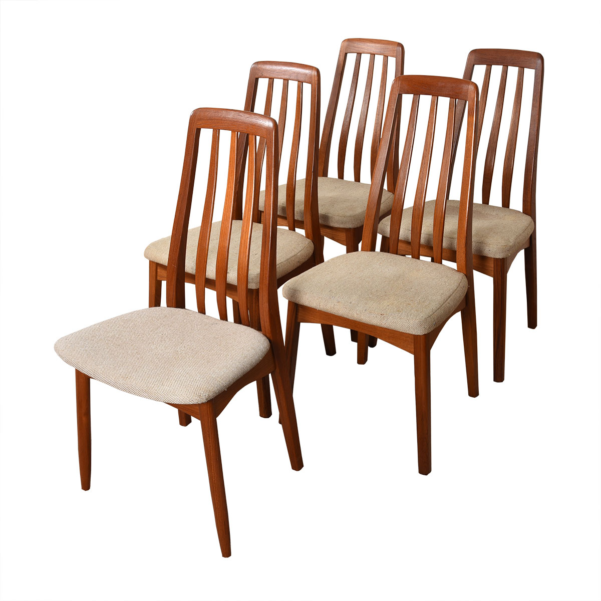 Danish Modern Teak Set of 1-2-3 Tall Slatted-Back Dining Side Chairs