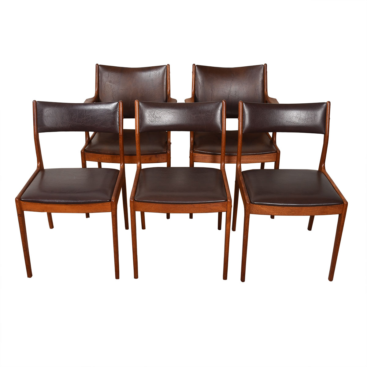 Set of 4 Danish Modern Brown + Teak Dining Chairs (2 Arm + 2 Side)