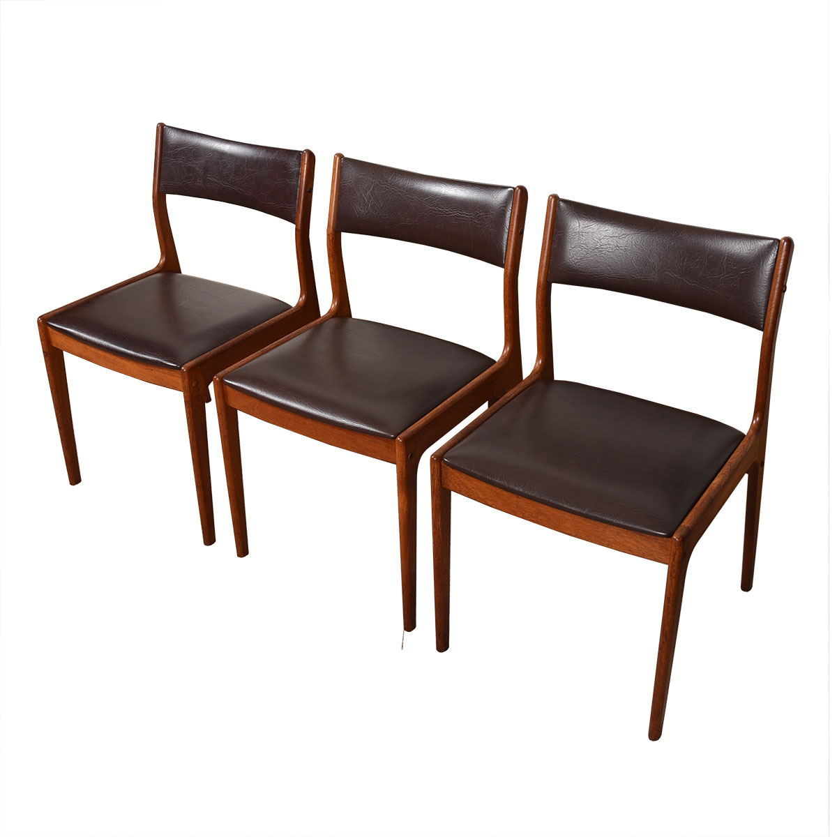 Set of 3 Uldum Danish Modern Dark Brown + Teak Side Dining Chairs