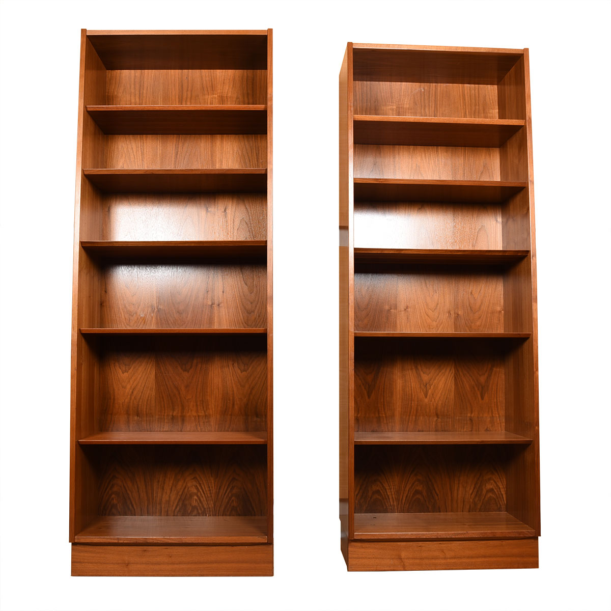 Pair of Tall Walnut Bookcases w/ Adjustable Shelves