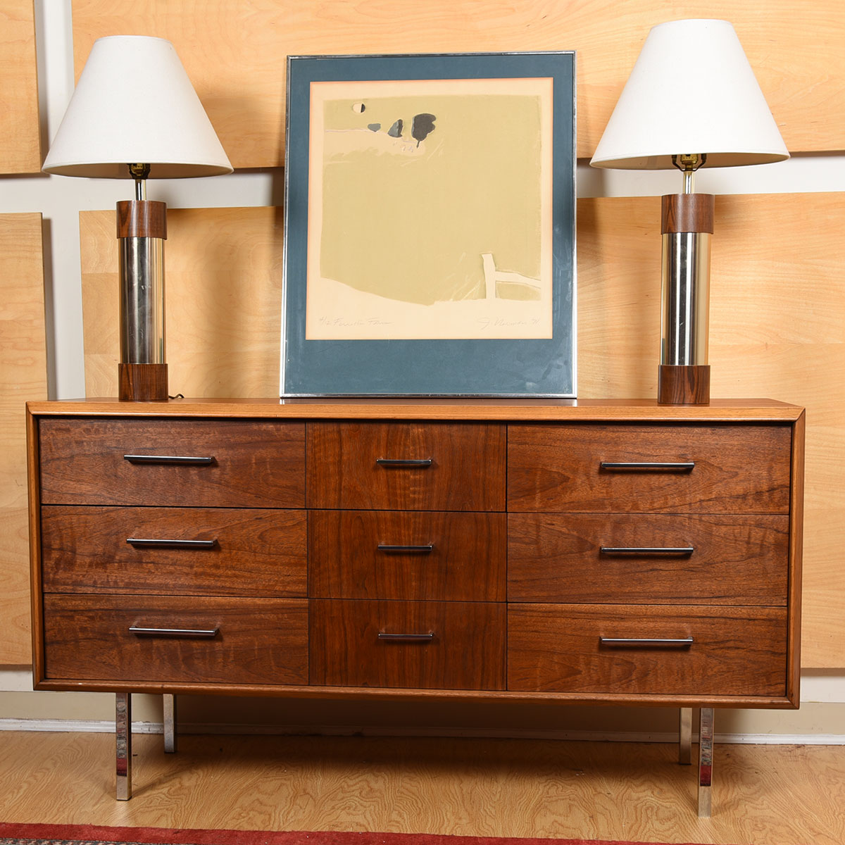 Mid Century Walnut Dresser / Storage Chest w/ Chrome Legs & Pulls