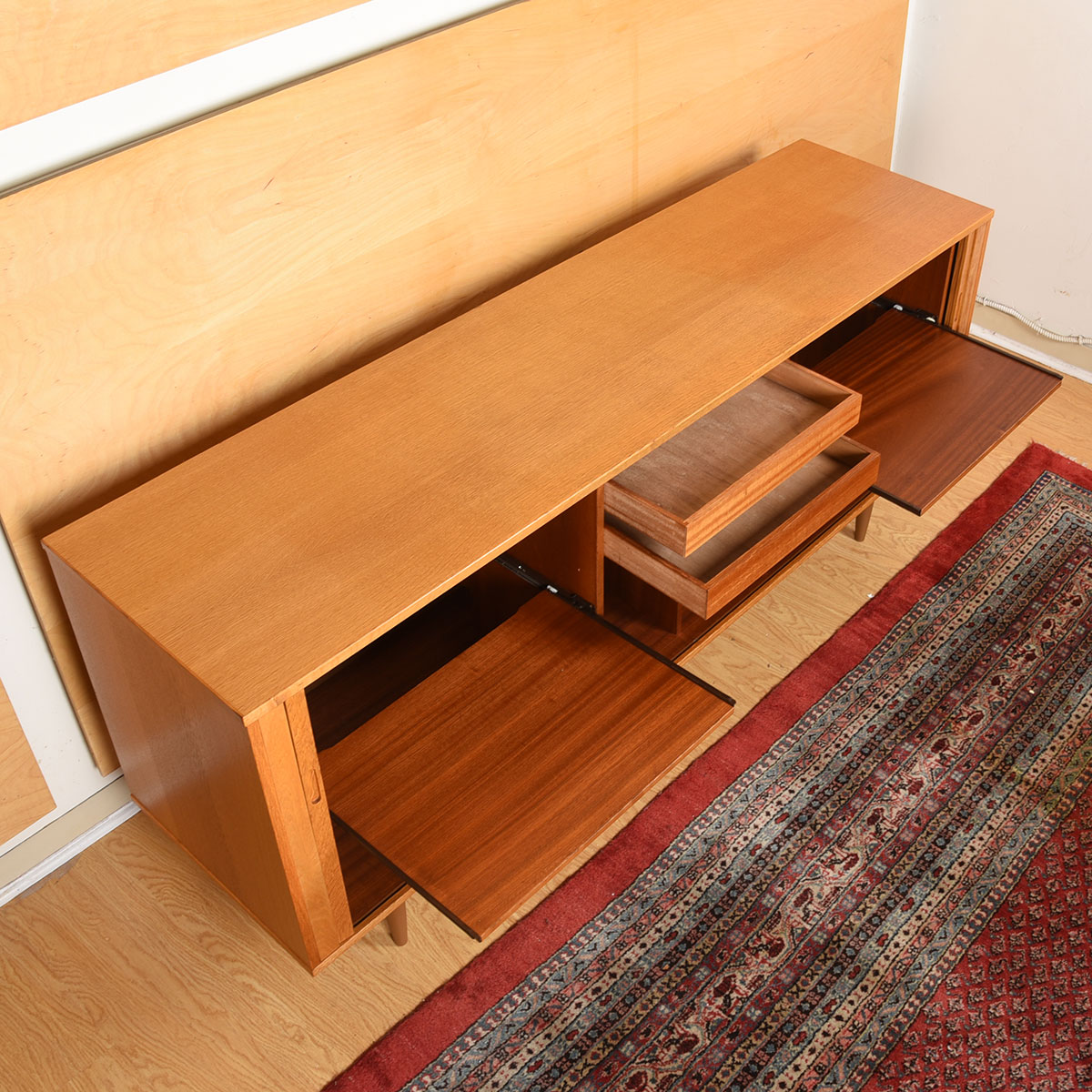 Danish Modern Tambour Door Lighted Media Sideboard w/ Pull-Out Shelves