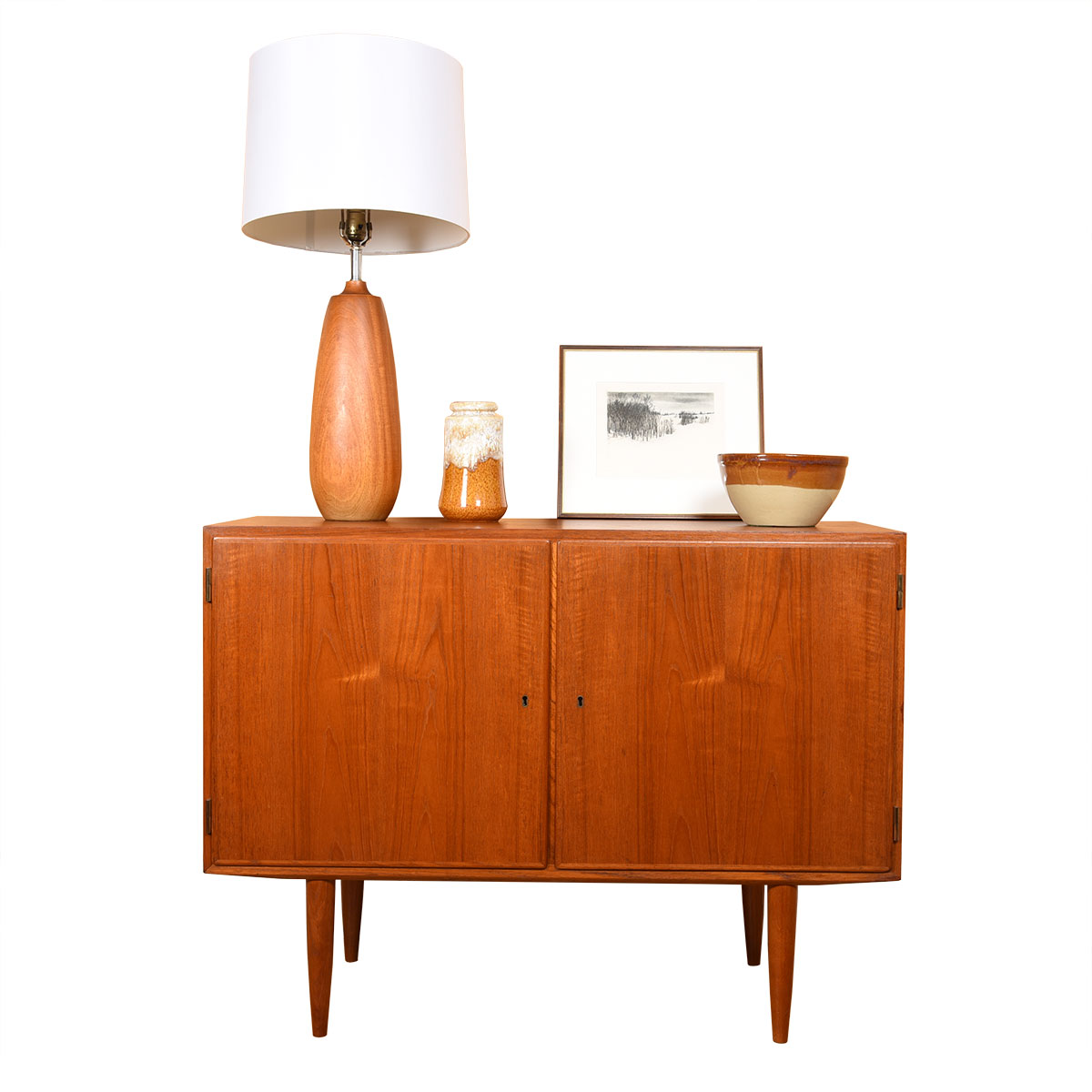 Tall Danish Modern Turned Teak Lamp